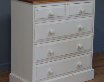 Quality Five Drawer Solid Pine Shabby Chic Chest Of Drawers Antique White
