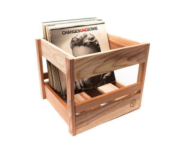 vinyl record crate wood storage box handmade in usa. Black Bedroom Furniture Sets. Home Design Ideas