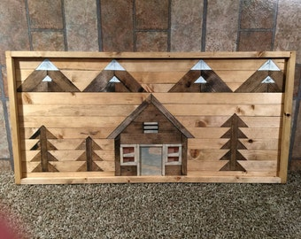 Wood Wall Art Cabin and Mountains