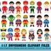 117 Superhero Kids Clipart Characters - 17 Superheros, multiple styles - Invitations, Decorations, Printable, Superman, Spiderman, Batman
