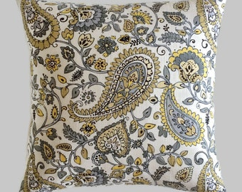 Paisley Pillow, Linen Pillow, Mustard Throw Pillow Yellow Ochre Gray Floral Cushion Cover Decorative French Country Cottage Accent Pillow