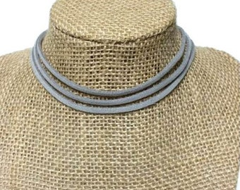 Triple Grey Suede Leather Choker Necklace, 3 Row Leather Choker Necklace