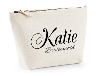 Cream Bridesmaid gift bag, make up bag, cosmetic bag, vanity bag, Personailsed bag