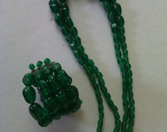 Vintage Venetian glass bead necklace and bracelet set