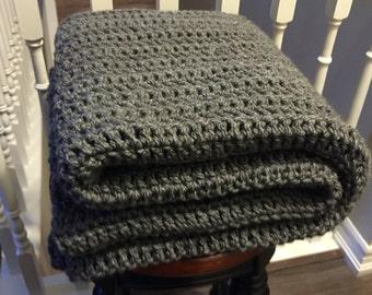 SALE - Chunky Crochet Blanket Charcoal Grey / Chunky Blanket / Grey Blanket / Chunky Throw Blanket / Crochet Blanket  / Blanket