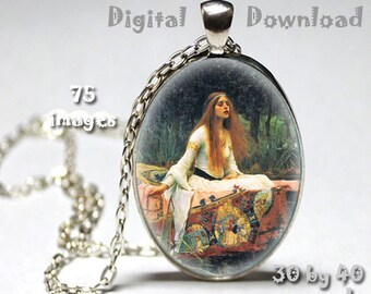 John Waterhouse paintings - Digital Download, 30mm by 40mm ovals on 8.5 x 11 paper, printable images for pendants, bezel crafts