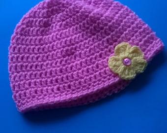 Girls crochet beanie style hat