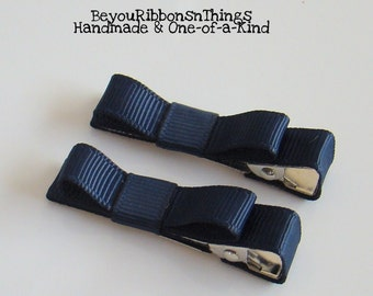 Navy | Hair Clips for Girls | Toddler Barrette | Kids Hair Accessories | Grosgrain Ribbon | No Slip Grip | More Essentials