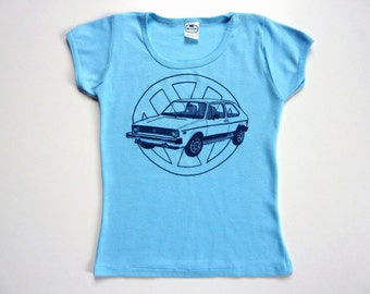 Vintage 70's Tee-Shirt Volkswagen Rabbit Golf 1 Light Blue