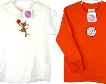 Volleyball Set of 2 Youth Child Size Sports Kangaroo T-Shirt Custom Embroidered Monogram + Name