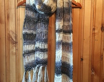 Hand knit multicolor full color knitted winter womens scarf merino wool warm soft scarf