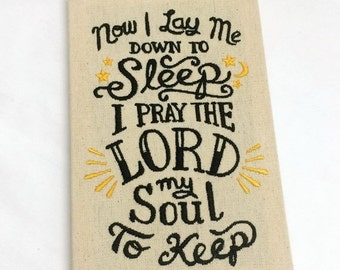 ON SALE Now I Lay Me Down To Sleep Prayer Embroidered Fine Art