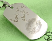 Customized Engrave Lips Print , your handwriting on Army style dog tag , free engrave for anything. Gift for boyfriend, girlfriend present