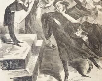 Antique French Cartoon Print/ Les Visites du jour de l'an/by Dumoni/19th century/Magazine Pages/Satire/Comes ces gaillards sautent bien