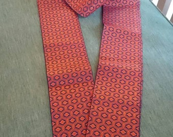 Vintage Narrow Obi/Japanese Obi/ Heavy Brocade/Orange/Great to Repurpose/Fashion Sewing Silk double sided