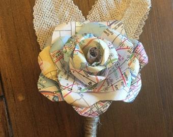 Map Paper Flower Boutonniere, Map flower boutonniere, Map flower corsage, corsage, boutonniere, Paper flower boutonniere, buttonhole