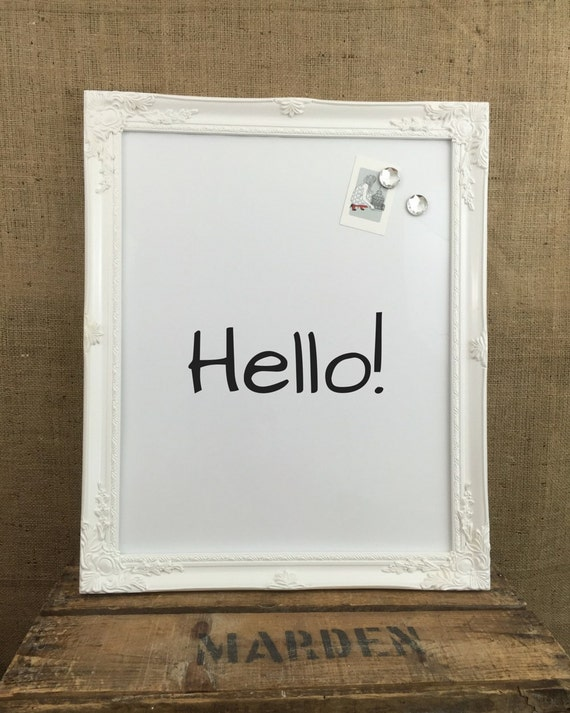MAGNETIC WHiTEBOARD - White Framed Message Board - Home Office Bulletin Board - Kitchen Memo Board - Dry Erase Board - Magnet Board