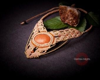 Goddess Gold Sand Stone Macrame Necklace