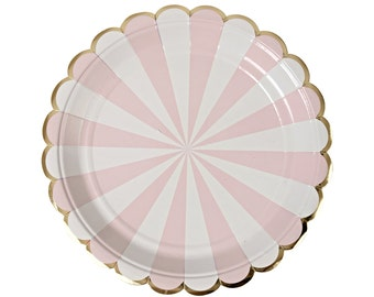 Pink and gold paper plates. Set of 8. Dusty pink SMALL dessert plates with white stripes and gold foil scallops. Light pink and gold plate.