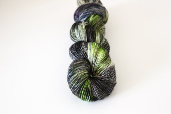 Hell Hunt - Ballpoint Sock fingering weight 80/20 superwash merino nylon hand dyed speckled variegated yarn - 400 yards