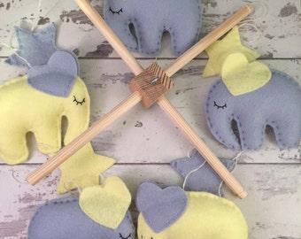 Elephant Baby Mobile - Grey and Yellow Mobile - Crib Mobile - Nursery Mobile - Nursery Decor