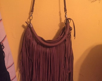 Fringe leather purse