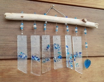 FREE SHIPPING! Mini Fused Glass Wind Chime on West Coast Driftwood