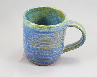 Pottery Coffee Mug Rutile Blue CHUN09