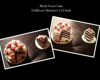 Dollhouse Miniature 1:12  Black Forest Cake