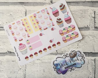 Baking cupcake sticker set for Erin Condren, Plum Paper, Filofax, Kikki K (DPD070)