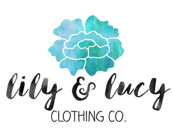 Premade Customizable Watercolor Logo - Flower - The Lucy - Business Cards - Blog - Marketing - Branding