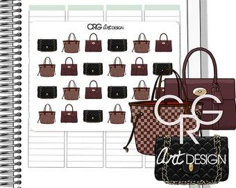 Designer Handbag Stickers *Style 1* | Planner Erin Condren Plum Planner Filofax Sticker