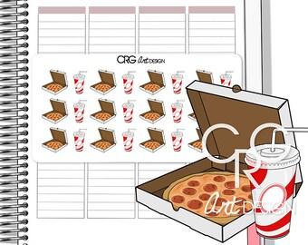 Pizza and Drink Stickers Fast Food   Planner Erin Condren Plum Planner Filofax Sticker