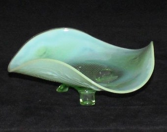 Vintage Green Opalescent Footed Bowl