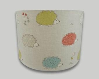 Orange Green Blue Hedgehog Childrens Nursery Drum Lampshade Lightshade Lamp Shade 20cm 25cm 30cm 35cm 40cm sizes available