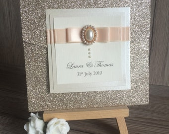 Champagne Glitter Pocketfold Wedding Invitation