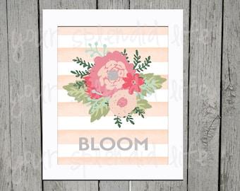 Spring Floral and Stripes Easter Bloom Digital Print 8 x 10