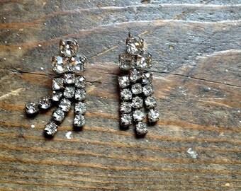 Glamorous 1950s rhinestone earrings with hook backs