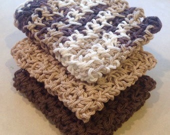 Crochet Cotton Dishcloth Washcloth, Set of 3, Brown, Tan, Neutral, Ready to Ship