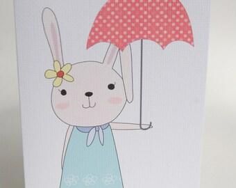 BIRTHDAY CARD GIRL -- Rabbit with Umbrella -- Greeting  Card