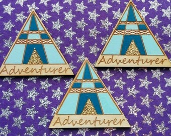 ADVENTURER teepee tent wooden lasercut brooch, mint teal and gold glitter sparkle