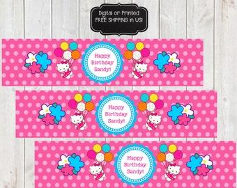 Hello Kitty Water Bottle Labels, Hello Kitty Water Bottle Wrappers, Hello Kitty Birthday Party, Hello Kitty Party, Hello Kitty