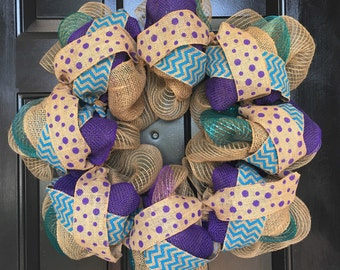 Spring Wreath - Purple and Blue
