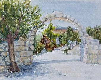 Biblical Garden, Fine Art Painting, Original Watercolor Painting, Landscape Painting, Small Paintings, Rock painting, Green, White