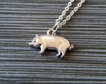 Silver Pig Necklace - Little Piggy Charm Necklace - Personalized Necklace - Custom Gift - Initial Necklace - Hog Necklace - Gift Under Ten