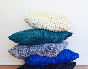 Throw Pillow - Chunky Woven or Knitted Pillow - 100% Merino Wool Pillow