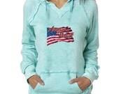American Patriot USA Flag Burnout Hoodies