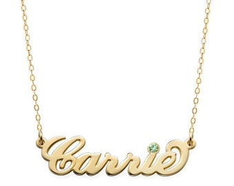 Birthstones Custom Made Carrie Style Nameplate Necklace select any name to Personalize in 18k Yellow Gold Plated 925 Sterling Silver
