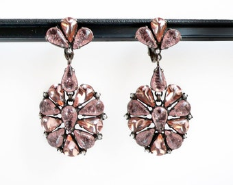 clip earrings with soft pink pear shaped Carglass vintage stones