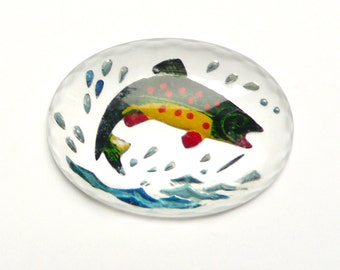 Vintage Reverse Carved Crystal Painting Cabochon Intaglio, Fish Sport Stone - 18x13 oval - 1 pcs - I2-2